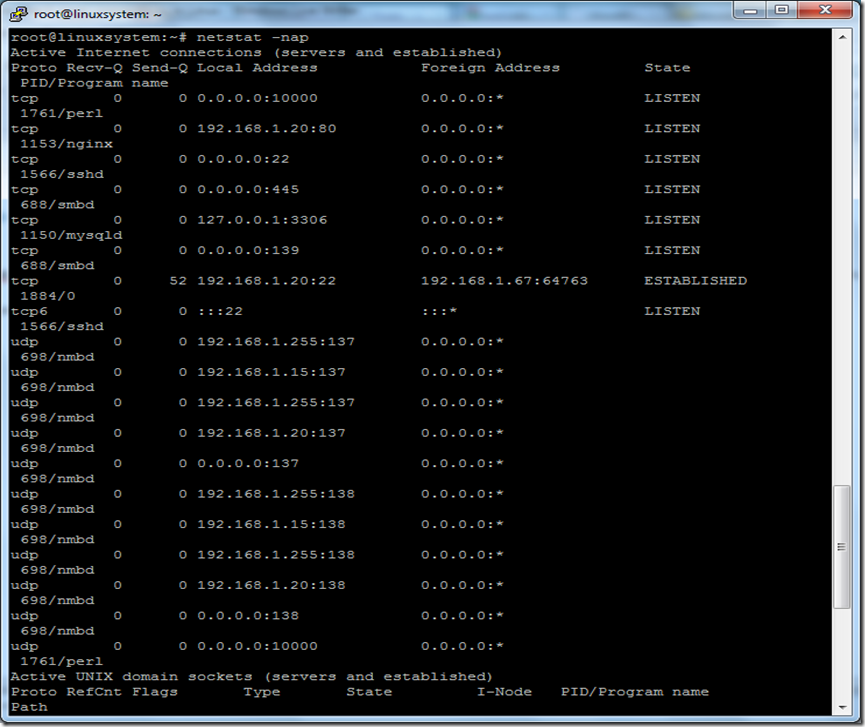 netstat port list