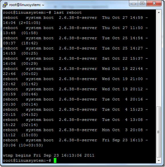 last reboot linux