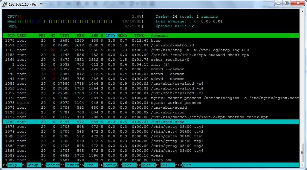 list linux processes usin htop