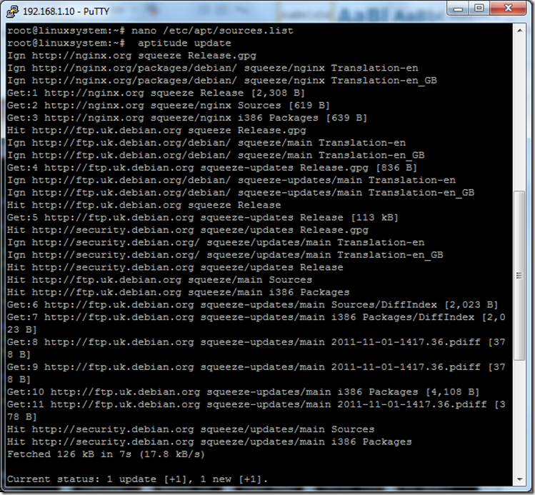 updating repository source for nginx