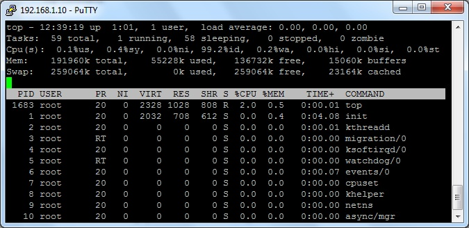 list processes in linux using top